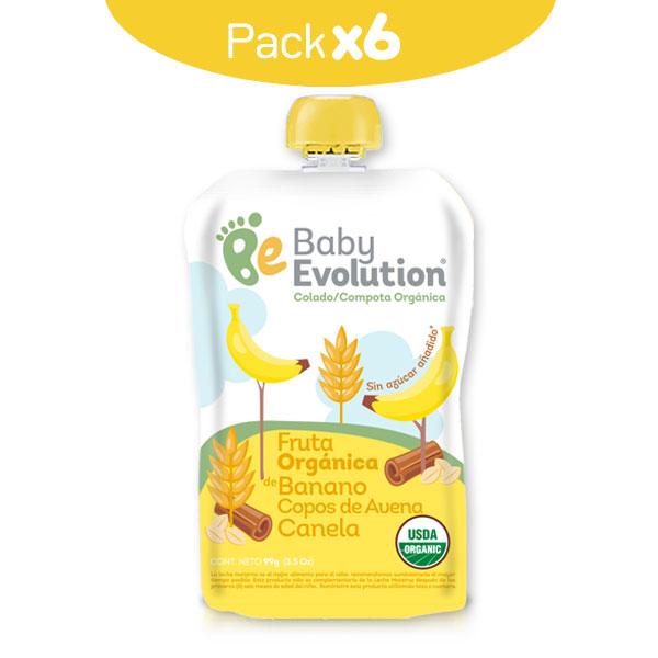 Pack por 6 compoptas orgánicas banano Avena canela