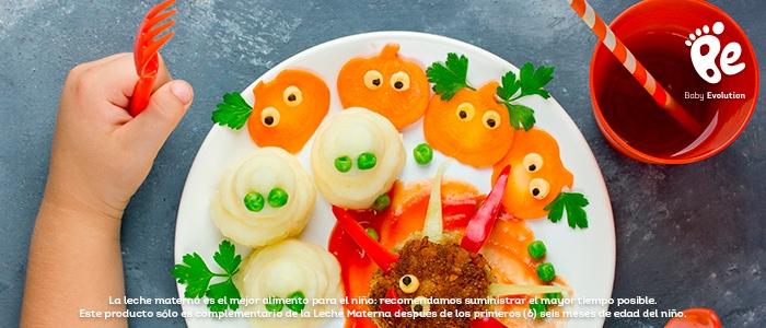 Estimula visualmente a tu hijo con alimentos coloridos - Araña, calabazas y fantasmas