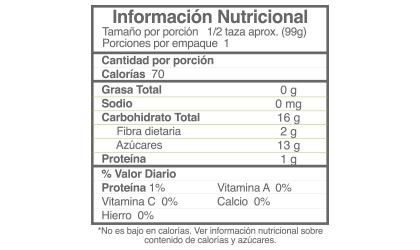 Información nutricional de la Compota Orgánica Baby Evolution de Banano Durazno Mango