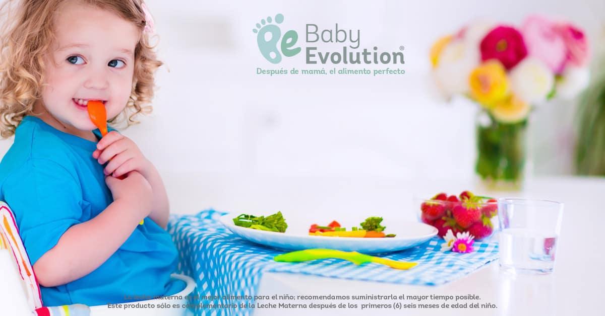 Porciones indicadas en un plato saludable para niños de hasta 2 años