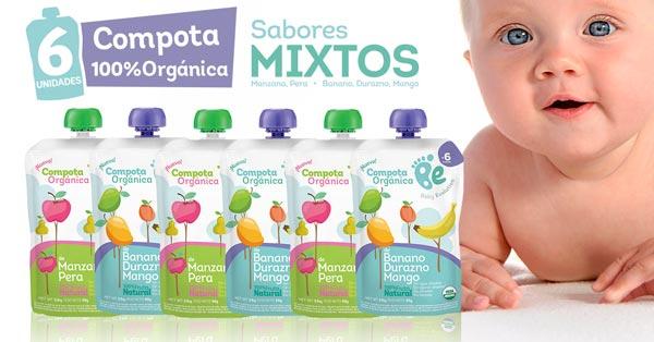 Compotas 100% fruta orgánica 6 unidades MIXTAS