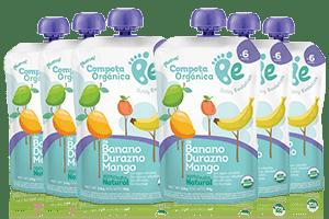 Compota por 6 unidades,  Banano -  Durazno - Mango